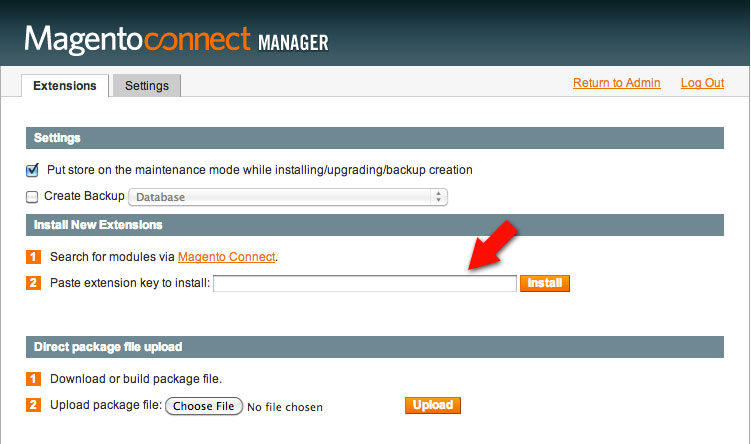 Magento paste extension key to update e-commerce extensions